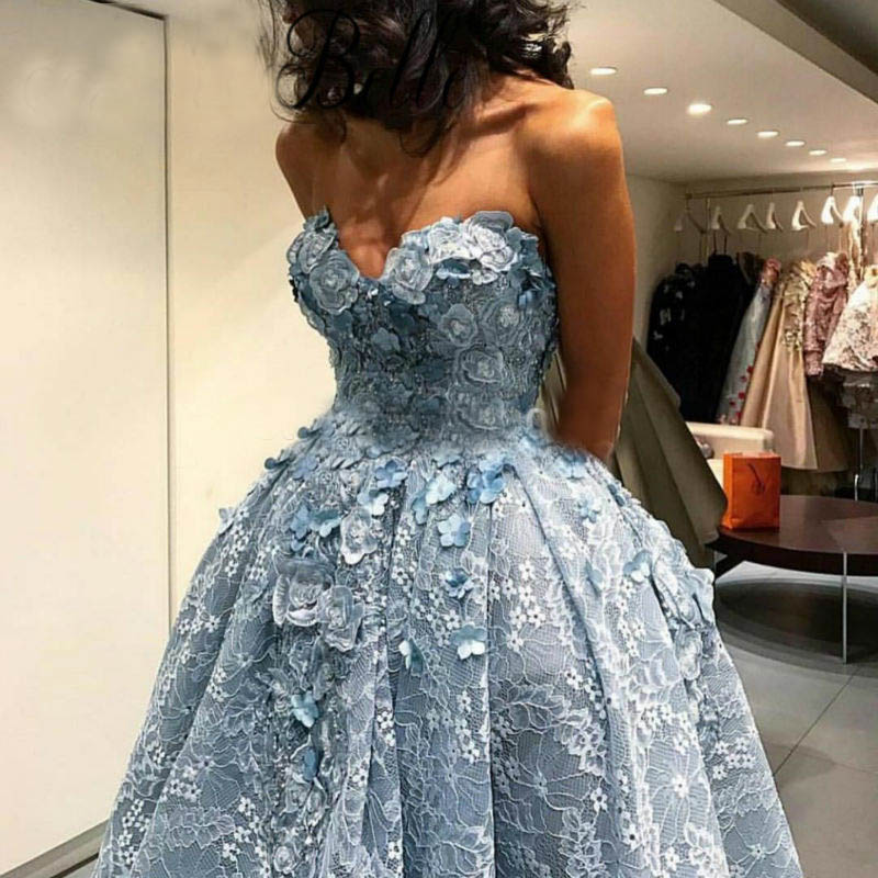 Dusty Blue High Low Ball Gowns Prom Dresses 2017 Fashion 3D Flowers ...