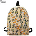 Mara's Dream 2016 Women Backpacks Canvas Large Capacity Travel Print Fox and Owl School Bags For Teenagers Girls Shoulder Bag