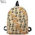 O Sonho de Mara 2016 Mulheres Mochilas de Lona Grande Capacidade bolsa de Viagem De Impressão Raposa e Coruja Sacos De Escola Para Adolescentes Meninas Ombro saco