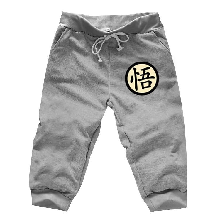 Mens Casual Funny Print Dragon Ball Goku Calf Length Spring Summer Gray Men Jogger Sweatpants Anime Cosplay Fitness