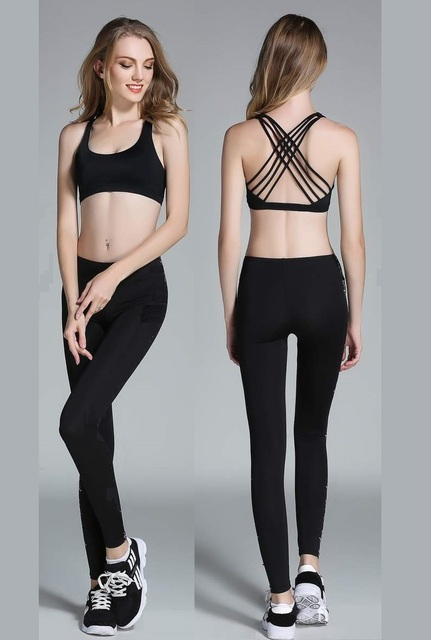 454d83256e JIGERJOGER 2016 Full length High waisted Band with pocket Solid Black  Women s Yoga Set Pants Sports Bra Gym legging outfits
