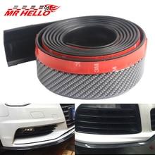 Mr 2.5m/8.2ft Universal Car Front Bumper Lip Splitter Carbon Fiber Car Rubber Bumper Spoiler Protector Car Bumper Strip
