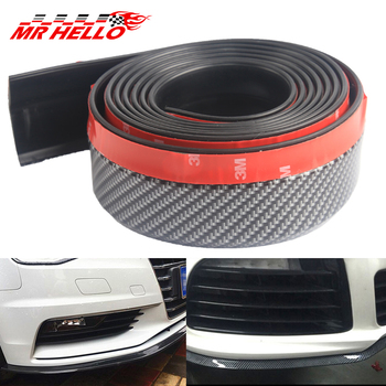 mr 2.5m/8.2ft Universal Car Front Bumper Lip Splitter Carbon Fiber Car Rubber Bumper Spoiler Protector Car Bumper Strip image