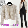 OL Amoy ladies slim female Japanese style hollow round collar cotton lace short jacket