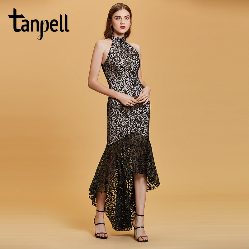Tanpell appliques mermaid evening dress black sleeveless ankle length gown women high neck empire formal long
