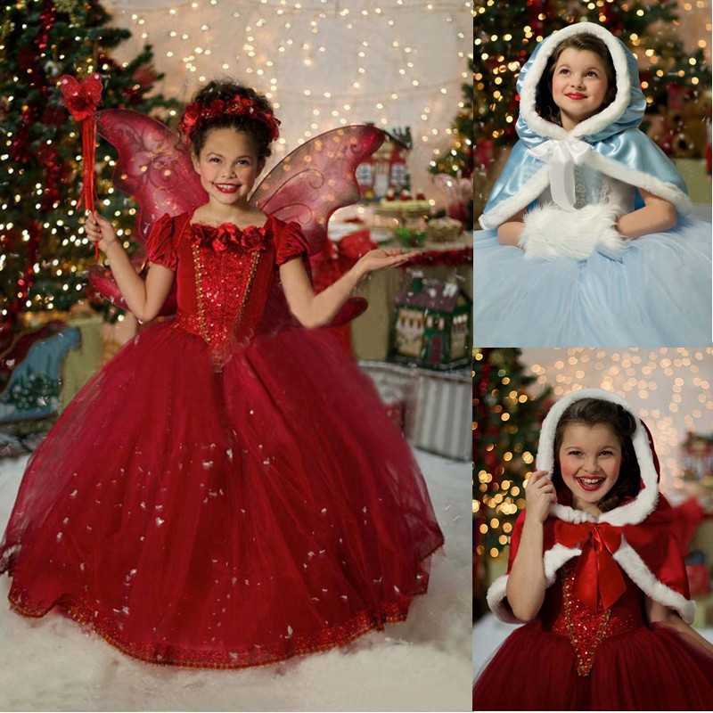 Winter Dresses For Baby Girls Christmas Red Hooded Girls Clothing Children Kids Cosplay Costume Baby Girl