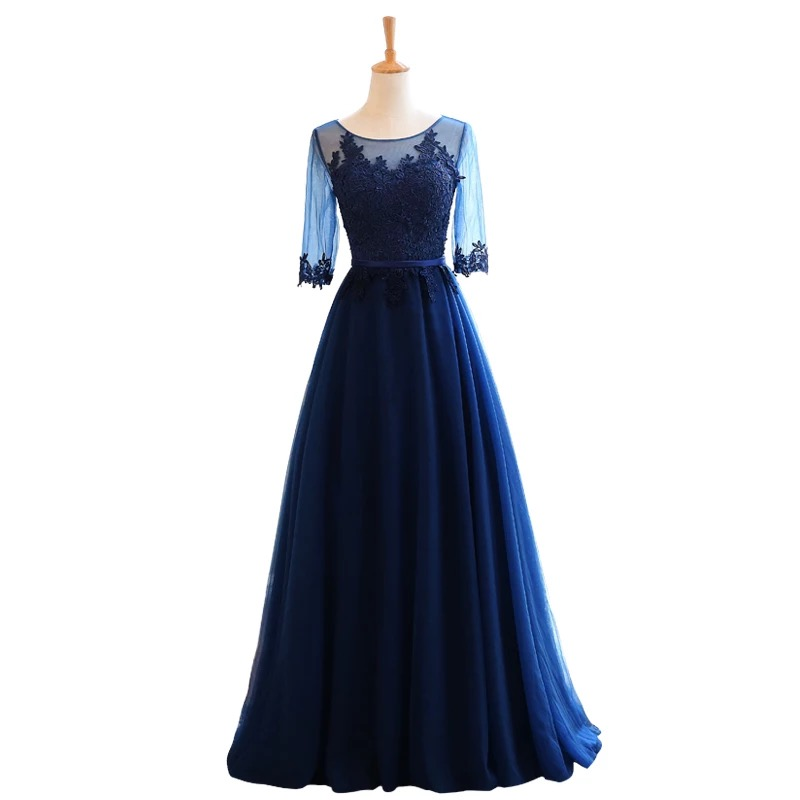 Mother of the Bride Dresses A line Half Sleeve Tulle Lace Long Formal Evening Gown Mother Dresses For Wedding Navy Blue MB06