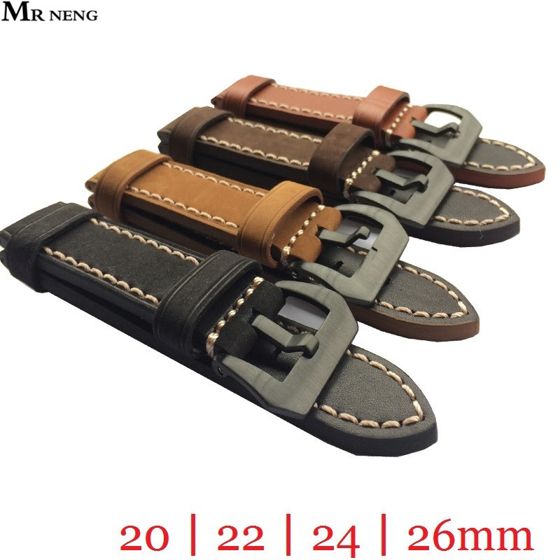 MR NENG 20mm 22mm 24mm 26mm Leather Watch Strap Watch Band Man Watch Straps Black Brown green with Stainless Steel Black Buckle 20mm 22mm 24mm 26mm black stainless steel buckle for watch strap band free shipping