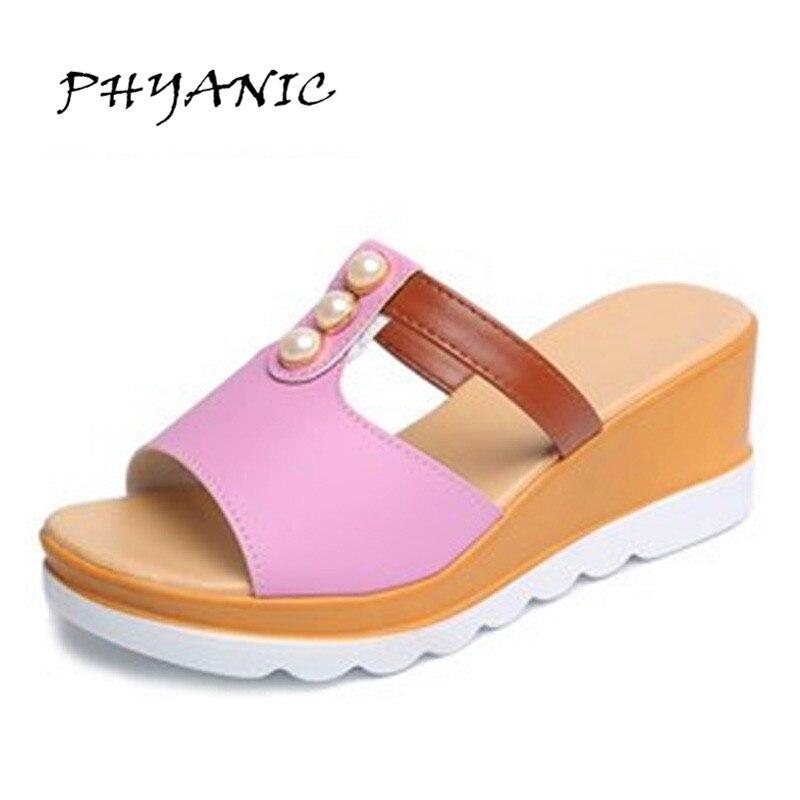Phyanic 2017 Pearl Decoration Women Sandals Mature High Heels Wedge Heels Women Shoes -5952