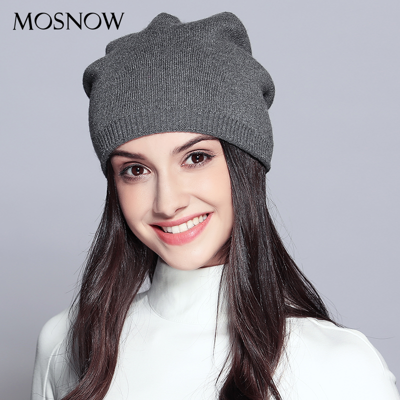 MOSNOW Women'S Hats Knitted Wool Autumn Winter Casual High Quality Brand New 2018 Hot Sale Hat Female   Skullies     Beanies   #MZ720