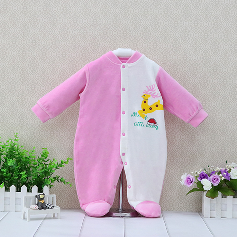 2019 Little Q new style velour long sleeve spring one piece   rompers   baby clothes O neck button down girls coveralls christmas