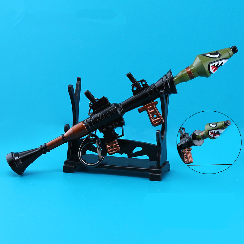 Hot Game Fortnite Keychain Arms Shark Cannon Rocket Launcher Key chain Pendant Metal Alloy Model Toy Car Key chain Holder