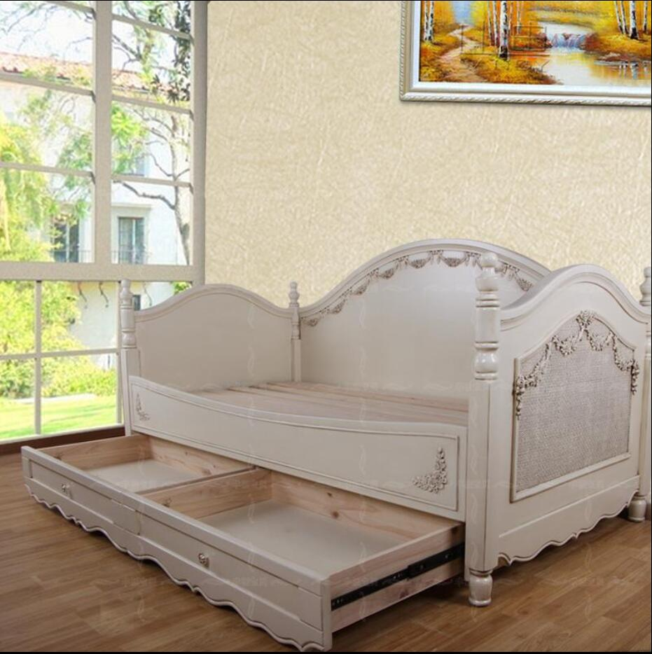 European Mediterranean Solid Wood Furniture Custom Exquisite Sofa Bed Boys And Girls Child Bed