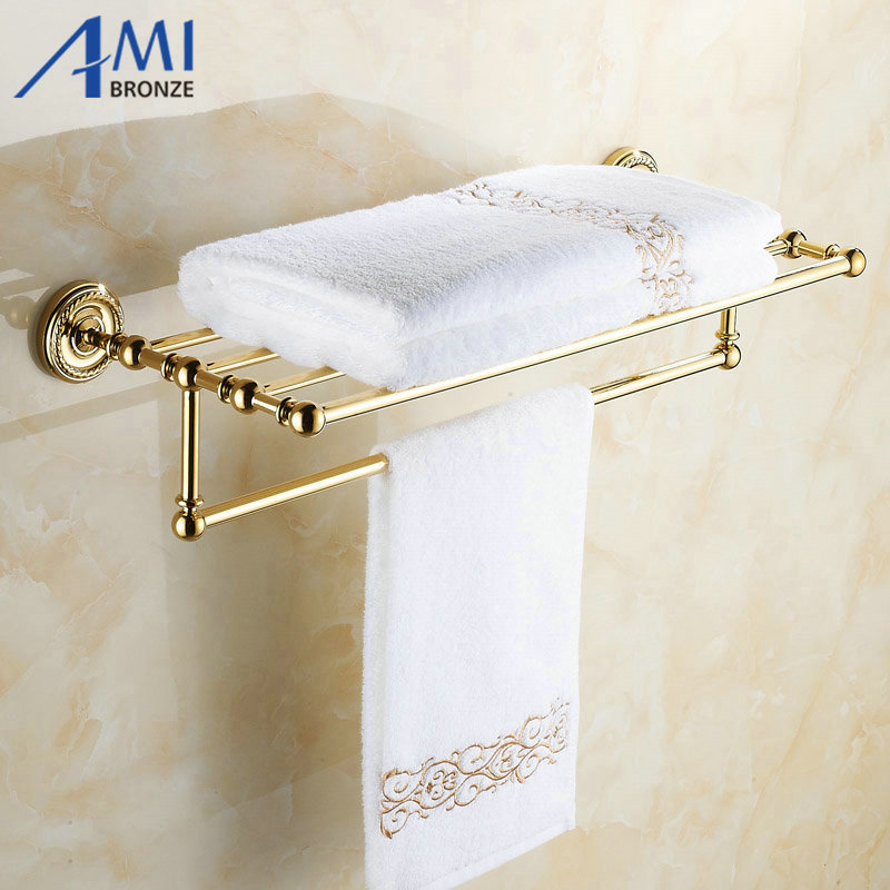 Wall Mounted Golden Polished Bathroom Accessories Towel Rack Tower Bar