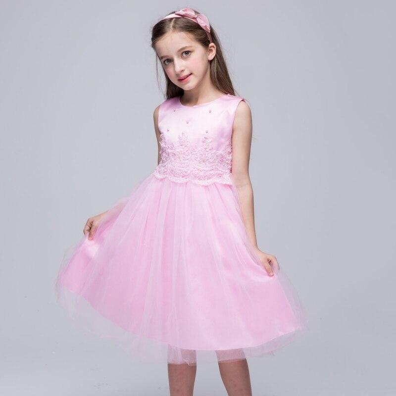 Summer Cute Solid Girls Princess Ball Gown Dresses Kids Sleeveless O ...