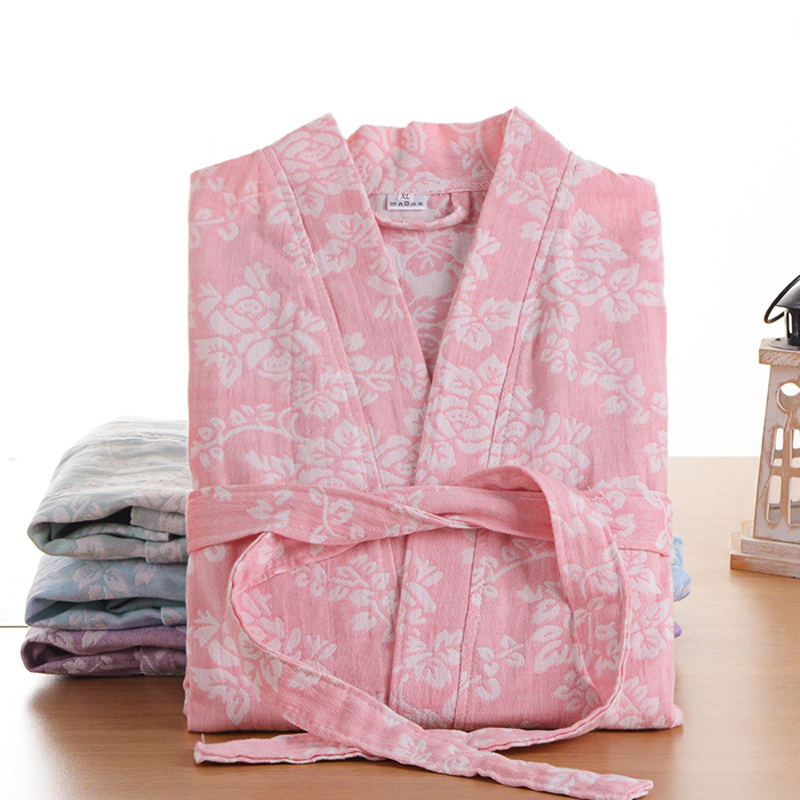 Newest Summer 100% Cotton Nightgown Sexy Bath Robe Women's Sleepwear Double Deck Gauze Sleepshirts Female Home Bathrobe