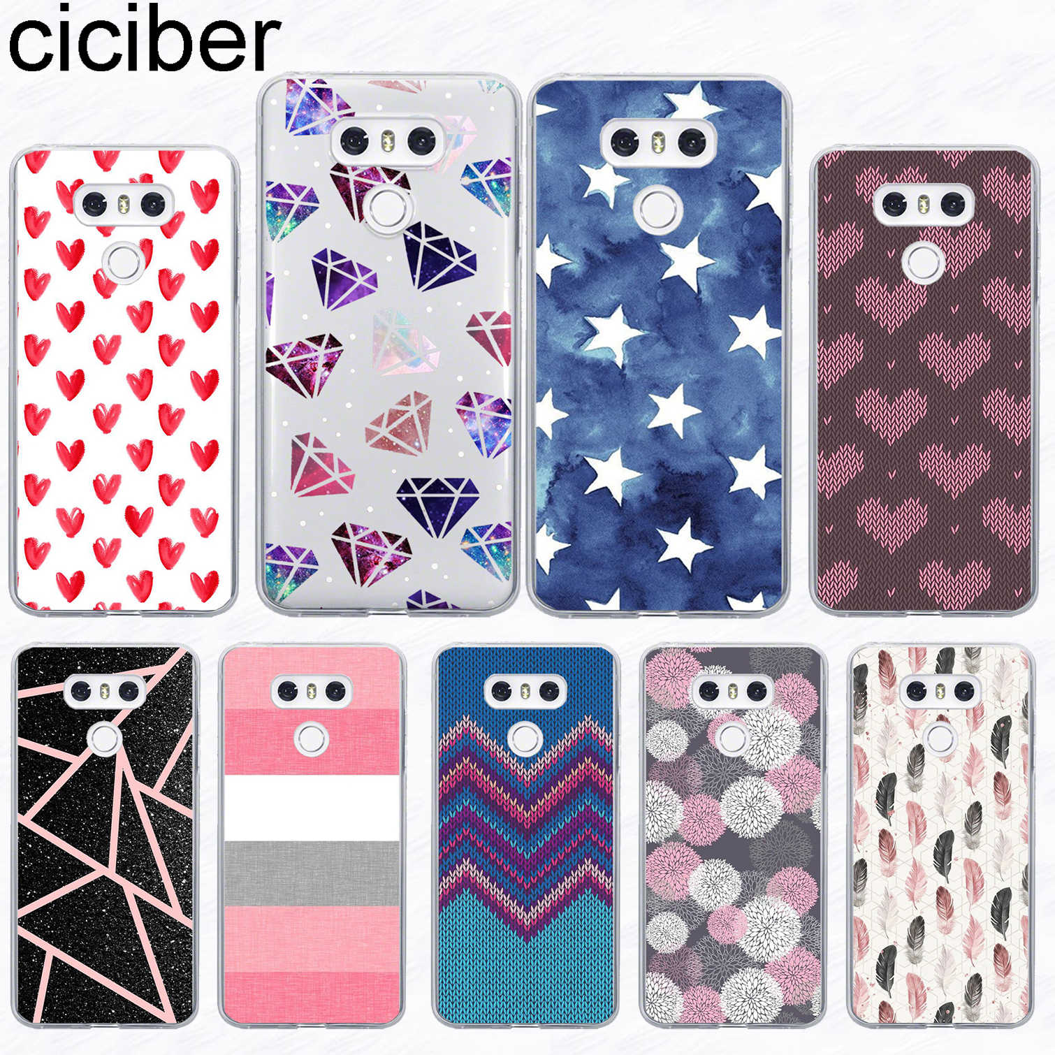 ciciber For LG G7 G6 G5 G4 V40 V35 V30 V20 THINQ Soft Silicone Phone Striped Diamond Case For LG K8 K10 K4 2017 2018 K9 K11 Plus