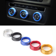 2016 Car Styling Aluminum 3PCS SET Air Conditioning Heat Control Switch knob AC Knob Case For