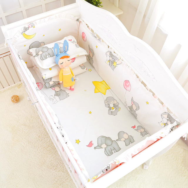 6pcs Cute Cartoon Print Girls Boys Baby Bedding Set 100%Cotton Bedclothes In Crib Cot Crash proof Bumpers Bed Sheet Pillowcase