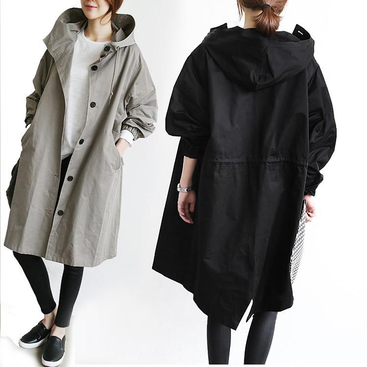 Printemps Longues Moyen Nouvelle Manteau Veste À Coréenne long Manches vent Lâche Noir Femelle Automne 2018 Capuchon Mince Style Mode gris Coupe kuwiOXZPT