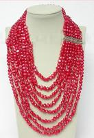 Free Shipping >>>>> Genuine 17 24 8row baroque red pearls necklace 925 silver clasp j8781