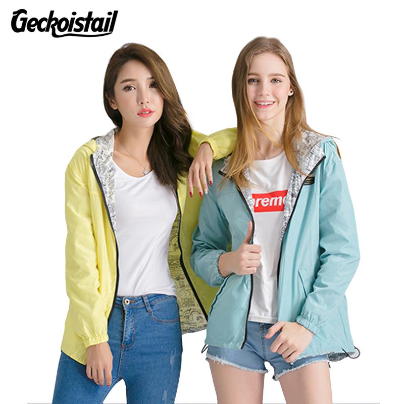 Geckoistai Jackets Women Front Back wear Jacket Women's Hooded Outwear Women Jacket Fashion Thin Windbreaker Outwear Women Coat