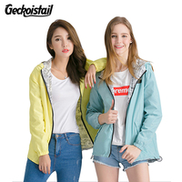 Geckoistai Jackets Women Front Back Wear Jacket Women S Hooded Outwear Women Jacket Fashion Thin Windbreaker