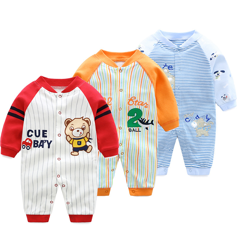 100% Cotton Newborn Baby Boutique Clothes Boys Autumn   Rompers   Infant Animal Costumes Girls Long Sleeved Cartoon Winter Pajamas