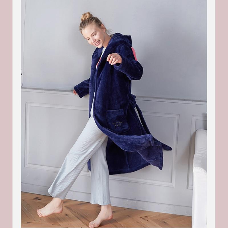 Robe Pajamas Woman's Nightgown Dames Pajamas Animal For Adults Winter Women Sleepwear And Rabbit Ears Sleep Band