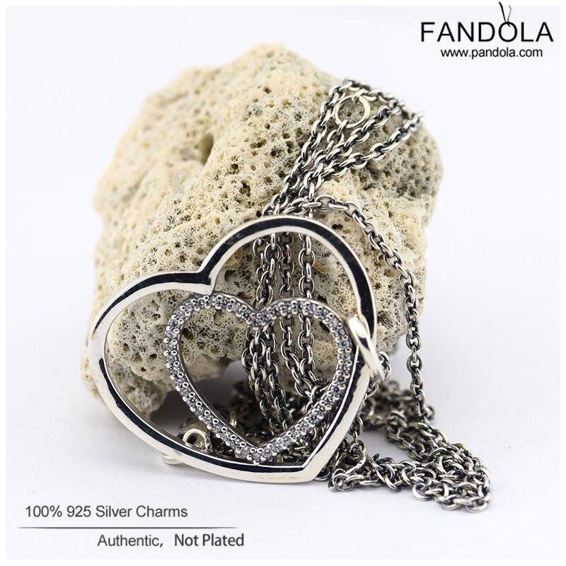 Ожерелье сердце к сердцу s 925 серебро чистое CZ Ожерелье Подвески для женщин Изготовление ювелирных изделий из драгоценных камней цепочка на подарок влюбленных 90 см