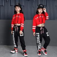 Korean Big Girls Streetwear Fashion 2018 Kids Sport suit Girls Black Letter Print Pant + Red Hoodie Two Piece Set Dance Costumes
