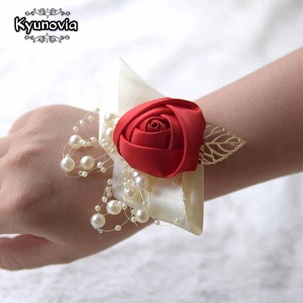 Kyunovia свадебная бутоньерка невеста, запястье, цветок церемония корсажи вечерние жемчужный браслет ручной работы подружки невесты цветы FE89