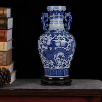 Jingdezhen ceramics ceramic blue and white dragon vase ornaments binaural living room decoration industrial equipment