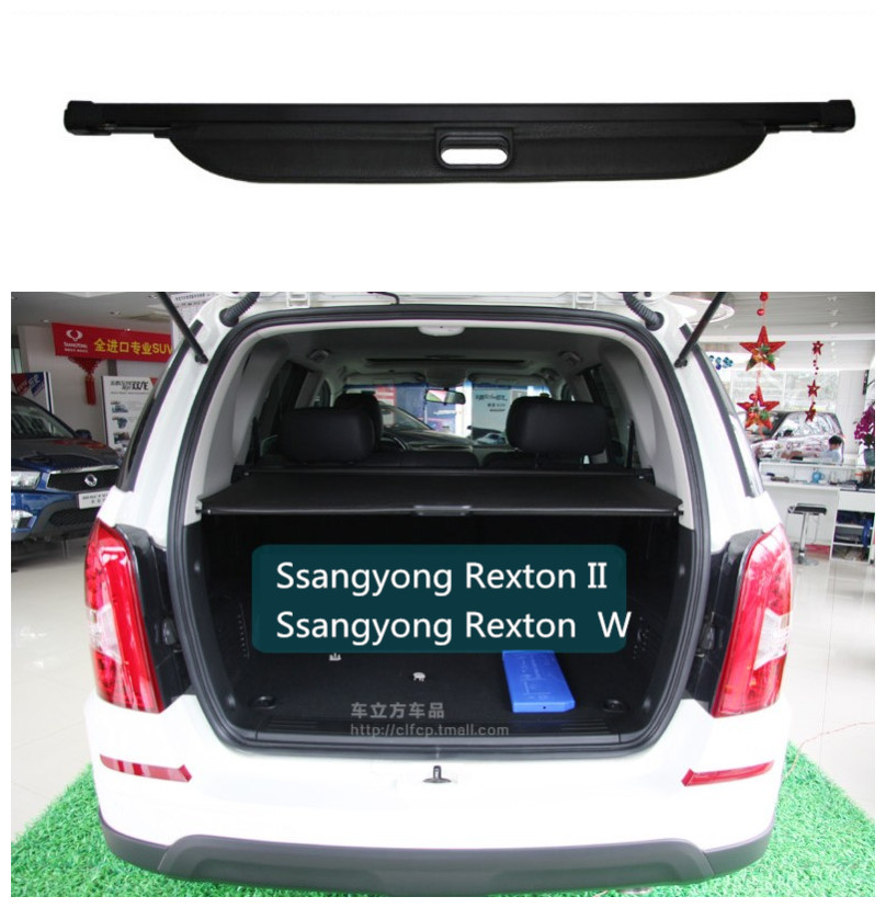 Car Rear Trunk Security Shield Cargo Cover For Ssangyong Rexton II W 2008-2017 High Qualit Black / Beige Auto Accessories car rear trunk security shield cargo cover for subaru xv 2012 2013 2014 2015 2016 2017 high qualit black beige auto accessories