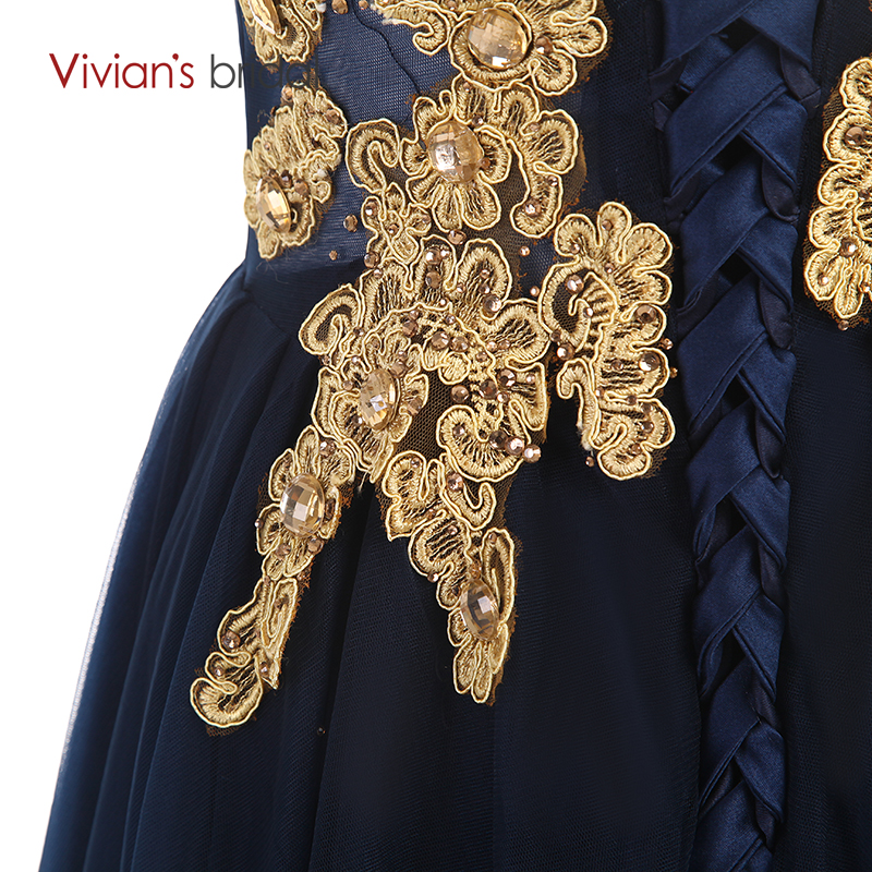 Vivians Bridal Gold Appliques Sleeve En Line Mor Of The Bride Dresses - Bröllopsfestklänningar - Foto 6