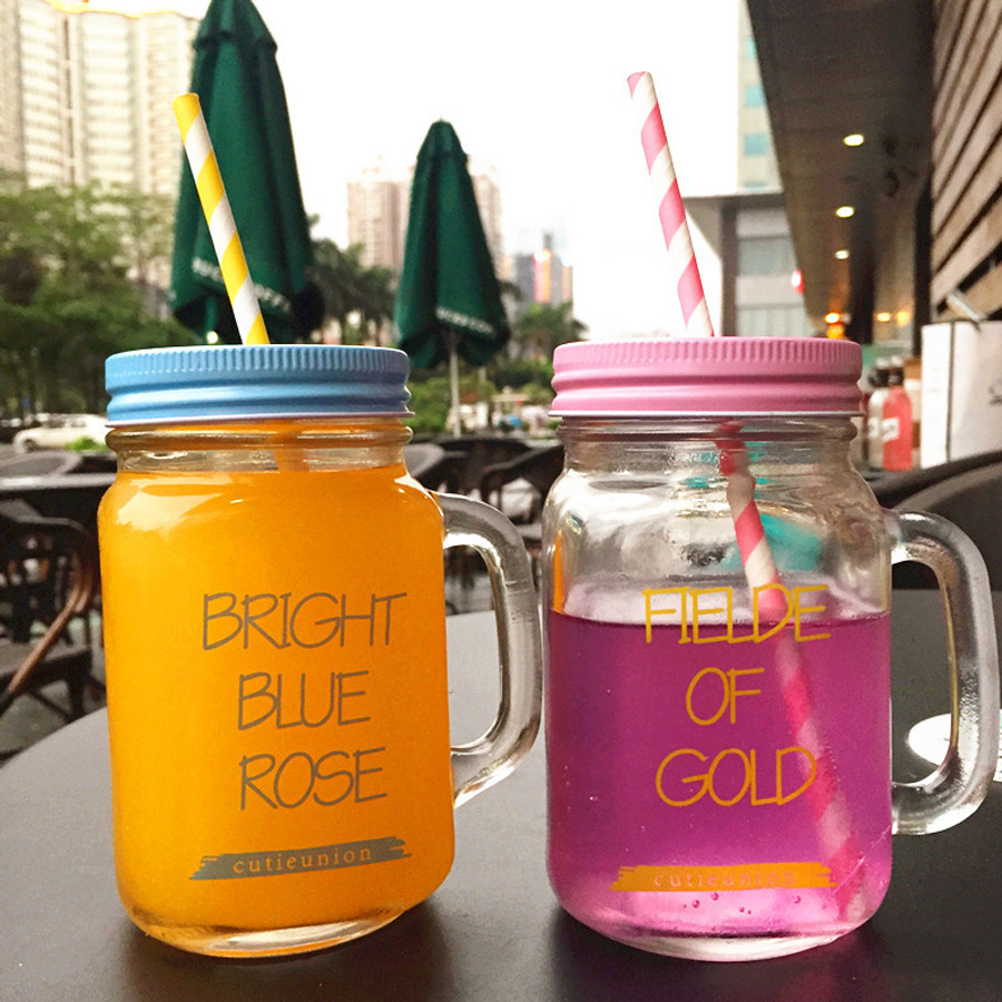 Glass juice cups design - Special Design Water Cups Glass Creative Cups Round With Straw High Quality Transparent Juice Glass With
