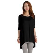 купить 2019 New Fashion Solid Half Sleeve T Shirt Women O Neck Batwing Sleeve Tshirt Korean Summer Casual Loose Big Size T-shirts Tops по цене 394.7 рублей