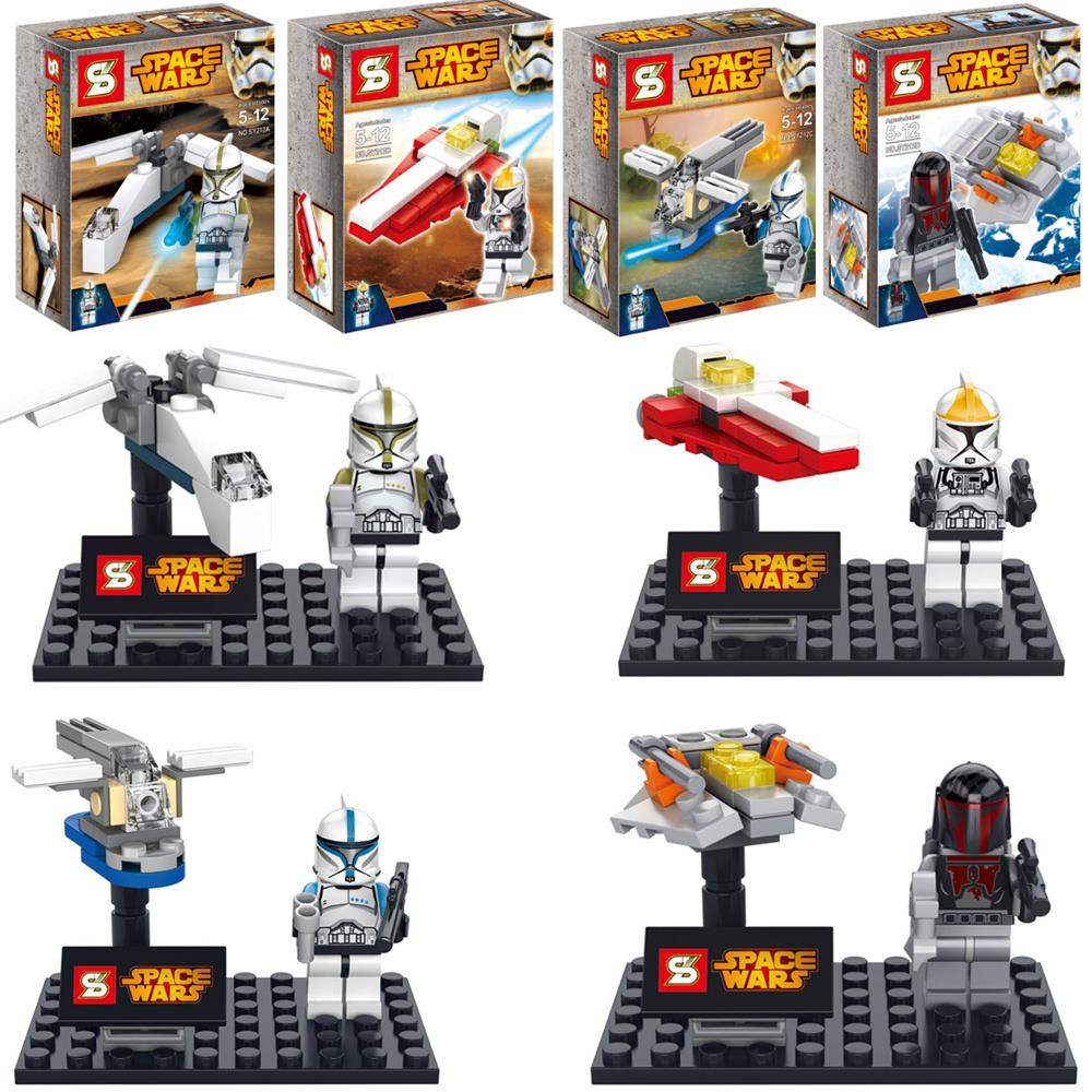 4sets STAR WARS Commander Clone Troopers X-WING Spaceship Fighter The Force Awakens minifig DIY Building Blocks Kids Toys lecgos building blocks super heroes star wars x wing fighter millennium falcon the force awakens compatible with lecgos
