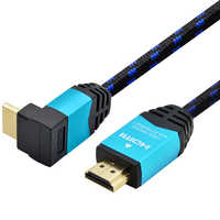 DREMAKE HDMI 90 Degree Right Angle HDMI Male to Male HDMI Cable Audio&Video Cable Support 3D 4K HDR 1M 2M for Projector XBox 360