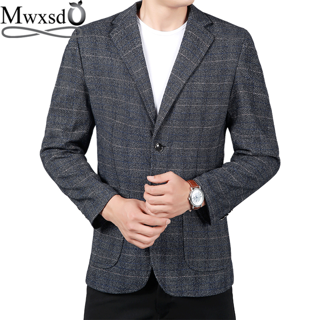 Mwxsd brand casual plaid Blazer men Suit jacket Mens single blazer jacket Slim fit male high quality blazer masculino