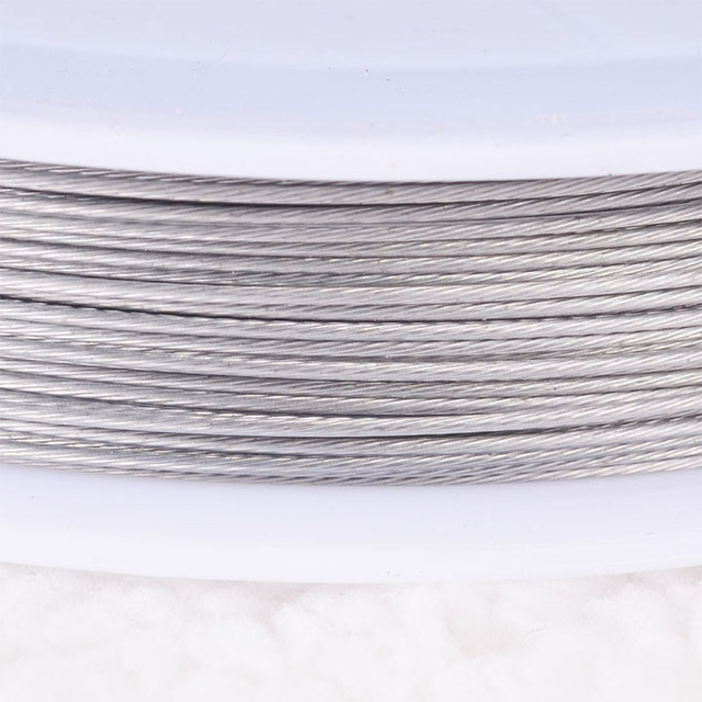 Stainless steel wire 0.45mm plain silver tigertail beading wire,thread cord plastic protective film wire
