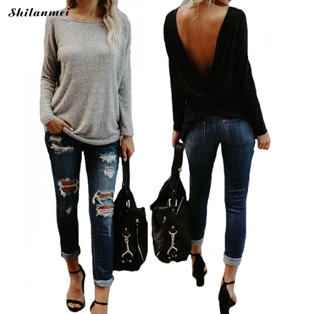 Plus Size Female O-Neck Long Sleeve Casual Simple T Shirts loose Asymmetrical Tops 2018 Spring Women backless T-Shirts Tees