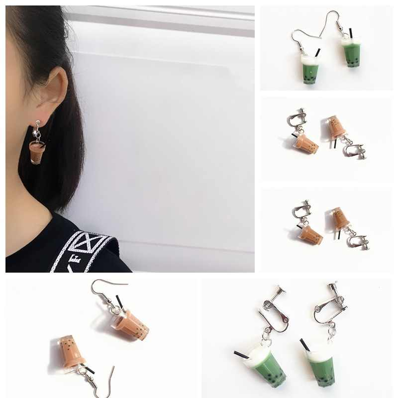 Unique Bubble Tea Drop Earrings Personality Resin Milk Tea Drink Earring for Girl Funny Party Jewelry