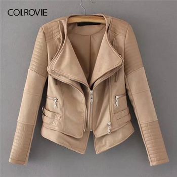 COLROVIE Khaki Zipper Pocket Biker Quilted PU Leather Jacket Coat Women 2019 Spring Fashion Ladies Jackets Female Outerwear