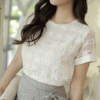 2018UbdehL Brand new women tops lace chiffon blouse shirt white short sleeve summer korean office female clothing