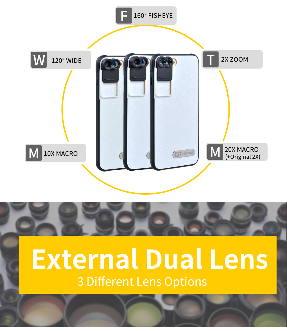 APEXEL Professional mobile phone lens just For iPhone 7 plus case fisheye iphone camera lens for mobile iphone 7 plus 5