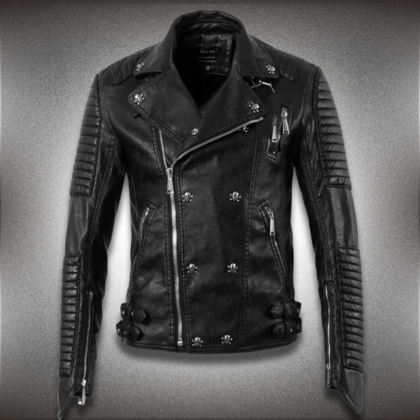 b32367ed6a9 2015 New Men Leather Jacket Genuine Real Sheepskin Leather Fashion Brand  Short Man s Motorcycle Biker Coat Spring Autumn