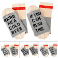 If You can read this Bring Me a Glass of Wine/Beer Letter Print Stylish Cotton Socks Female Thermal Warm Christmas Casual Socks