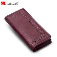 Contact S Luxury Brand Long Women Wallets Genuine Leather Fashion Design LadiesPurse Clutch Wallet Card Holder