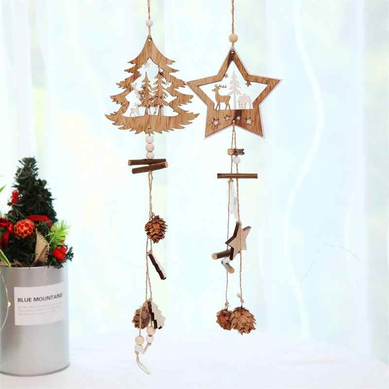 Fashion Christmas Decoration Wooden Star Tree Hanging Ornaments Door Windows Pendant Luxury Hemp Rope Home